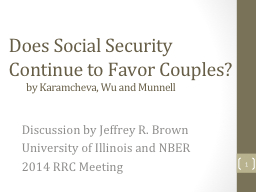 Does Social Security Continue to Favor Couples?
