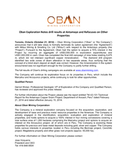 For further information on Oban Mining Corporation please contact:  Jo