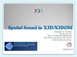 Spatial Sound in X3D/X3DOM PowerPoint PPT Presentation