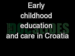 Early childhood education and care in Croatia