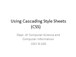 Using Cascading Style Sheets (CSS)