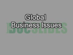 Global Business Issues