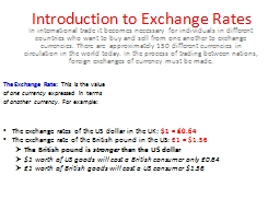 Introduction to Exchange Rates PowerPoint PPT Presentation
