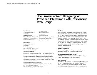 The Proxemic Web Designing for roxemic interactions with Responsive Web Design     PDF document - DocSlides