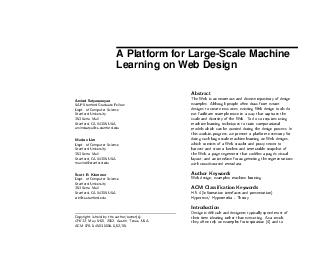 A Platform for LargeScale Machine Learning on Web Design