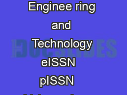 IJRET International Journal of Research in Enginee ring and Technology eISSN   pISSN    Volume  Issue   Oct Available  http www