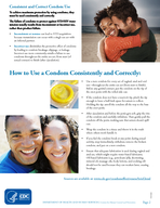 Page  CS DEPARTMENT OF HEALTH AND HUMAN SERVICES  Centers for Disease Control and Prevention Condom Fact Sheet In Brief Consistent and correct use of the male latex condom reduces the risk of sexuall