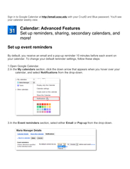 your calendar. To change your default reminder settings, follow these