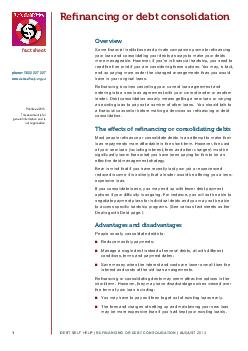 fact sheet Renancing or debt consolidation Overview RPHQDQFLDOLQVWLWXW