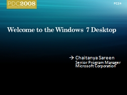 Welcome to the Windows 7 Desktop PowerPoint PPT Presentation