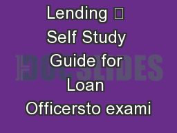 Agricultural Lending – Self Study Guide for Loan Officersto exami