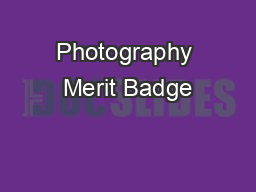 Photography Merit Badge