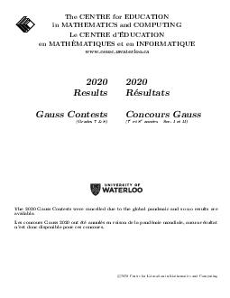 The CENTRE for EDUCATION in MATHEMATICS and COMPUTING Le CENTRE d EDUCATION en MATH EMATIQUES et en INFORMATIQUE www