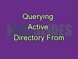 Querying Active Directory From
