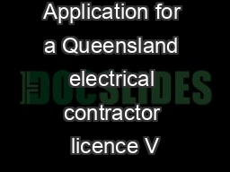 Form  Application for a Queensland electrical contractor licence V