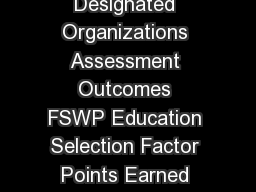 EDUCATIONAL CREDENTIAL ASSESSMENT CONVERSION TABLE Designated Organizations Assessment Outcomes FSWP Education Selection Factor Points Earned Doctorate Degree Doctoral level  Earned Doctorate Ph