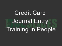 Credit Card Journal Entry Training in People