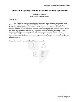 Journal of Academic and Business Ethics  Breach of the peace
