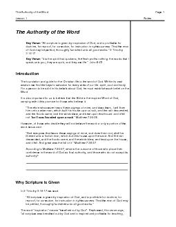 The Authority of the WordPage Lesson 1Notes PowerPoint PPT Presentation