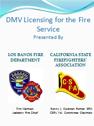 DMV Licensing for the Fire Service