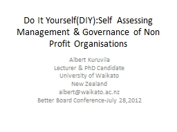 Do It Yourself(DIY):Self Assessing Management & Governa