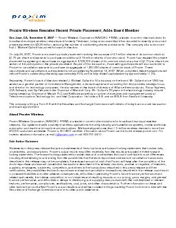 Proxim Wireless Rescales Recent Private Placement; Adds Board Member .