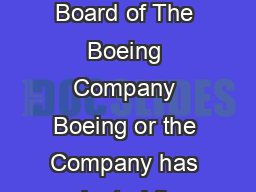 Corporate Governance Principles October   The Board of Directors the Board of The Boeing Company Boeing or the Company has adopted the following corporate governance principles the Principles to assi