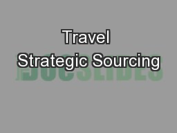 Travel Strategic Sourcing