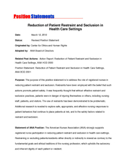 Reduction of Patient Restraint and Seclusion in