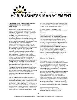1  WASHINGTON STATE UNIVERSITY & U.S. DEPARTMENT OF AGRICULTURE COOPER