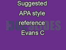 Suggested APA style reference Evans C