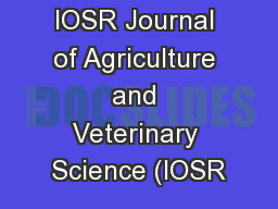 IOSR Journal of Agriculture and Veterinary Science (IOSR