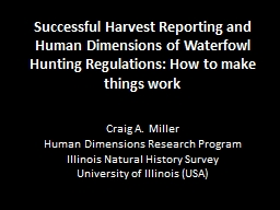 Successful Harvest Reporting and Human Dimensions of Waterf