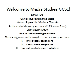 Welcome to Media Studies GCSE! PowerPoint Presentation, PPT - DocSlides