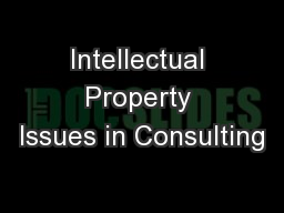 Intellectual Property Issues in Consulting