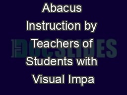 Abacus Instruction by Teachers of Students with Visual Impa
