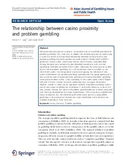 RESEARCH ARTICLE Open Access The relationship between casino proximity and problems