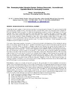 1 &#x/MCI; 0 ;&#x/MCI; 0 ;Title:  Revamping Indian Education S