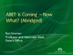 ABET is Coming – Now What