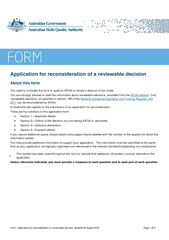 Form Application for reconsideration of a reviewable decision, updat