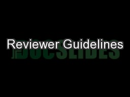 Reviewer Guidelines