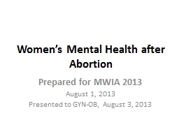 Women's Mental Health after Abortion