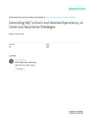 1Extending SQL's Grant and Revoke Operations,  to Limit and React
