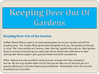 Keeping Deer Out Of Gardens
