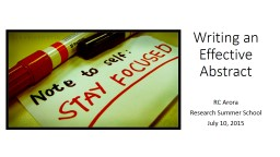 Writing an Effective Abstract PowerPoint PPT Presentation
