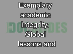 Exemplary academic integrity: Global lessons and