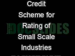 NSIC Performance Credit Rating Scheme for Small Industries  Performance  Credit Scheme for Rating of Small Scale Industries BACKGROUND The Small Scale Sector occupies an important position in any dev