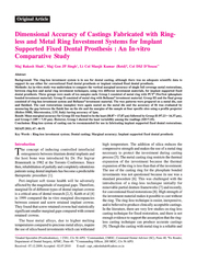 Original Article Dimensional Accuracy of Castings Fabricated with Ring