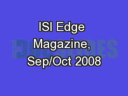 ISI Edge Magazine, Sep/Oct 2008