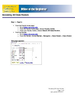 Accessing All Class RostersPage Last updated 0/29/2011